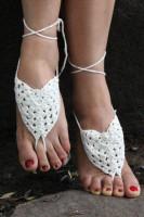 Whtie Pearl Embellished Crochet Barefoot Sandals L98003-3
