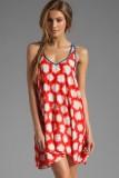 Orange Sparks Print Cover-ups Beach Dress L3778-1