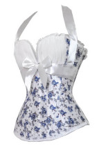 Blue Flower Printed Sexy Corset L42692-1