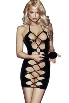 Black Faux Leather Latex Hollow Out Sexy Dress L28152
