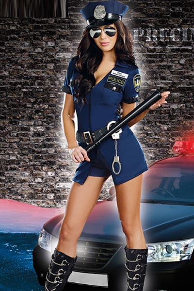 Sexy Roma Black Police Officer Cop Lusty Law Enforcer Halloween Party Costume Small Medium