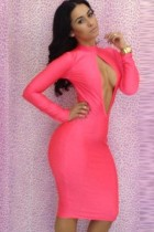 Pink Open Keyhole Bodycon Dress L2608