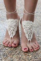 Beige Triangle Crochet Toe Ring Barefoot Sandals L98008-2