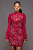 Winslow Wine Red Jeweled Quilted Dress L28135-1