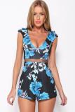 Sexy Rose Shorts Waist Gauze Black Blue Flower Printed Jumpsuit