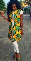 Africal Sleeveless Colors Long Jacket for Women