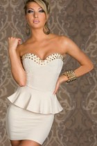 Sexy White Strapless Bandage Peplum Tube Club Mini Dress Metal N