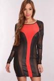 Coral Black Faux Leather Detail Sexy Dress  L2541