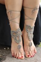 Khaki Triangle Floral Crochet Barefoot Sandals L98001-5
