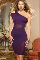 Plus Size Mesh and Knit One Shoulder Dress P2315-3