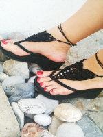 Black Pearl Embellished Crochet Barefoot Sandals L98003-4