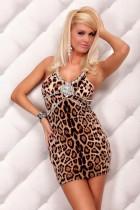 Cocktail Brown Leopard Animal Print Rhinestone Trims Dress Clubw