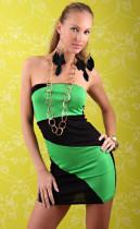 Sleeveless Black and Green Dress L2444-2