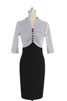 Elegant Bodycon Patchwork Knee-Length Office Pencil Dresses 36013-2