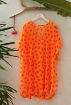 Orange Printed Chiffon Kimono Sleeves Kaftan L38268