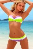 New Sexy Rainbow Tie-dye Bandeau Bikini Top and Bottom Swimwear