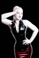 Fashion Model Faux Leather Halter Corset Top