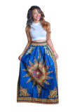 Sleeveless African Print Sexy Skirt Set L28061