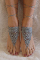 Grey Triangle Crochet Toe Ring Barefoot Sandals L98008-1