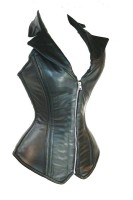 Front Zipper and Back Tie Sexy Leather Outfit Corset L6037