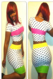 2 Piece Colorful Polka Dot Shorts Sleeve Bodycon Set  L2704