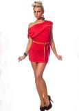 Stretch Mini Dress With Ruffles Red L2409-2