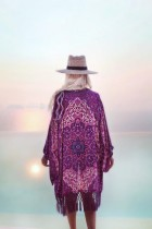 Purple Chiffon Tassel Printed Beach Blouse L38422
