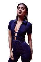 Fashion Deep V-Neck Denim Jumpsuit L55284