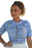 Maja Baby Blue Floral Eyelet Luxe Crop Top L468-2