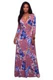 Pink Floral Print Belted Maxi Dress L51397-2