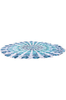 Peacock Print Light Blue Boho Beach Blanket L38349-3