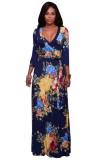 Adelynn Navy-Blue Floral Print Belted Maxi Dress  L51397-1