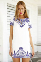 New Summer Cute Casual Pattern Blue Floral Mini Dress  L27807