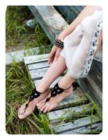 Black Triangle Floral Crochet Barefoot Sandals L98001-1