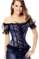 9 Plastic Bones Lace-Up Off The Shoulder Brocade Corset L42683-1