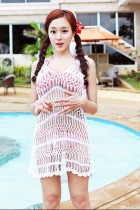 White Sexy Cool V-neck knitted beach cover-ups  L3795-1
