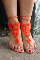 Orange Triangle Floral Crochet Barefoot Sandals L98001-4
