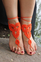Orange Triangle Floral Crochet Barefoot Sandals L98001-4