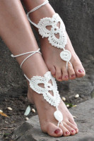 Whtie Triangle Floral Crochet Barefoot Sandals L98001-3