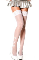 Sheer Thigh Highs with Butterflies White L92241-2