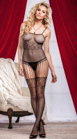 Fishnet And Lace Crotchless Bodystocking L92252