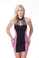 Sexy School Girl Mini Dress Pink/black L15159-1