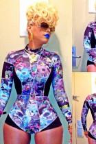 Printed stitching sexy jumpsuits L5509