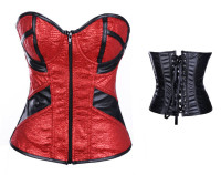 Plus Size Front Zip Sexy Corset Red L4253-1