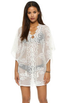 Angel White Crochet Lace Knit Honeycomb Beachwear L38299
