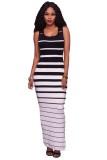 Lyla Black & White Stripe Fitted long Dress with Snaps Side Spli