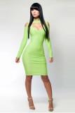 Women New Lime Green Bandage Dress L2702