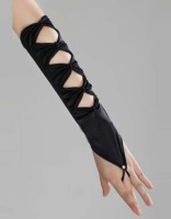 Black Hollowed-out  Satin Gloves TY023-2