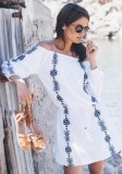 White Beach Dress with Navy Embroidery L38420-1