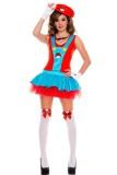 Sexy Ladies Super Mario Luigi Brothers Fancy Dress Costume L1487
